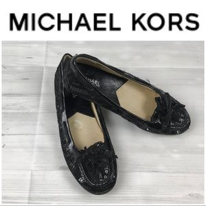 Michel Kors Black Sequence Flats. Sz  8M